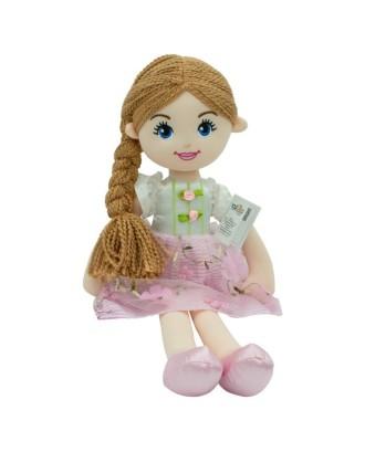 Emilka lėlė, rausva suknelė, rudi plaukai