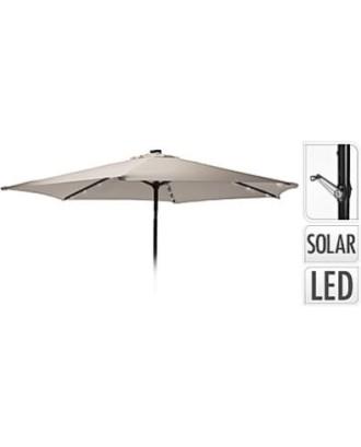 Sodo skėtis su LED apšvietimu 270cm smėlio spalvos su rankena