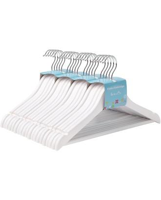 Mažos baltos medinės pakabos, 20 vnt. vaikų drabužiams