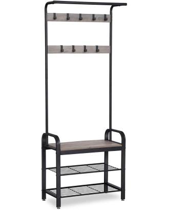 Drabužių pakaba su sėdyne ir lentynomis batams 72x33,7x183 cm