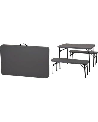 Pikniko rinkinys: sulankstomas stalas + 2 suolai