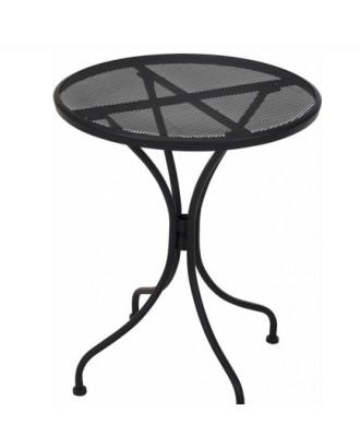 Apvalus, tamsiai pilkas, metalinis, kiemo sodo stalas 60 cm
