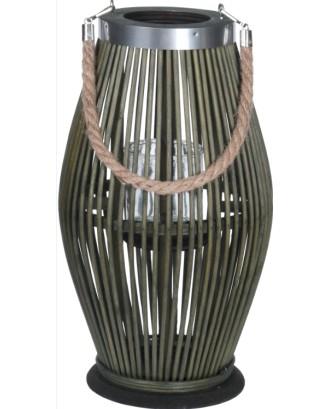 Bambuko žibintas 21x38 cm su stiklo įdėklu