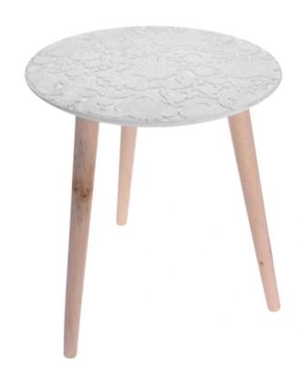 Apvalus baltas stalas ant trijų kojų, skersmuo: 40 cm