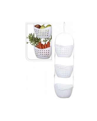 3 horizontaliai pakabinami krepšeliai vaisiams ir daržovėms
