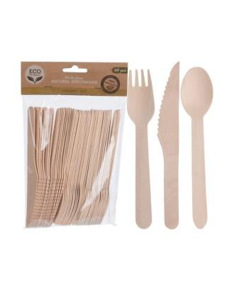 ECO medinių stalo įrankių rinkinys