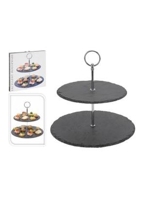 Dviejų aukštų akmeninė lėkštė užkandžiam, pyragui 23 cm