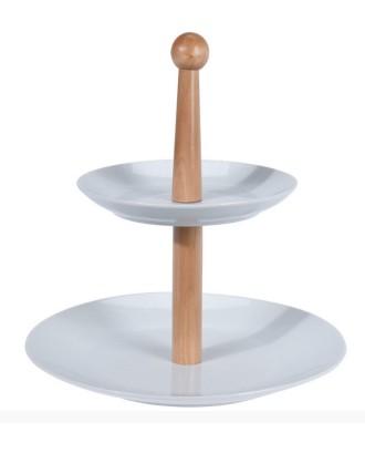2 pakopų porceliano lėkštė