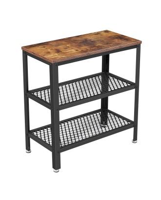 Industrinio stiliaus stalas su 2 lentynomis