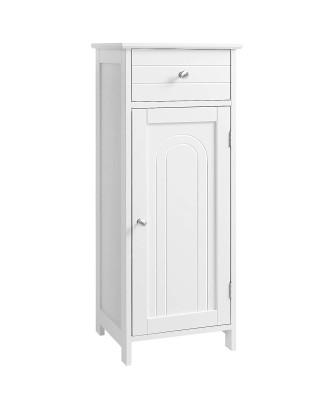 Balta medinė spintelė su stalčiumi svetainei, vonios kambariui