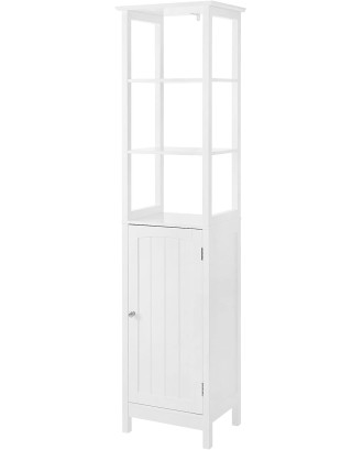 Siaura balta spintelė vonios kambariui 40 x 32 x 160 cm