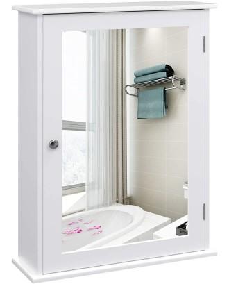 Balta vonios spintelė su veidrodžiu