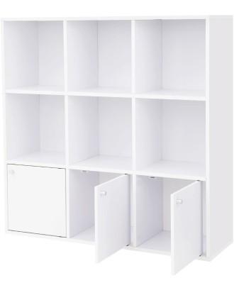 Knygų spinta su 6 lentynomis ir 2 spintelėmis 97,5 x 30 x 97,5 cm