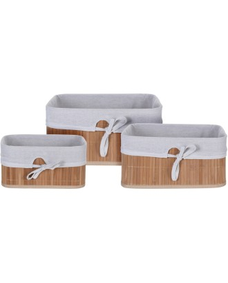 Bambuko krepšelių rinkinys 3 vnt.