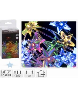 40 spalvotų LED žvaigždžių formos žibintų ant laido