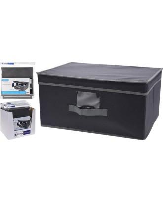 Sulankstoma tekstilinė dėžė su dangteliu, pilka