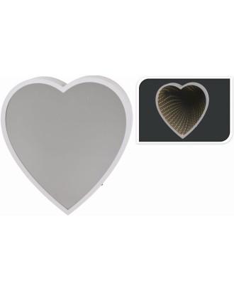 Širdies formos veidrodis su LED apšvietimu 23 x25 cm