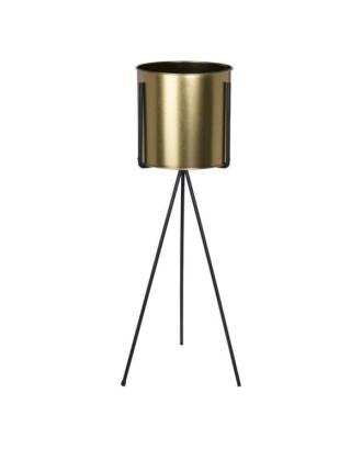 Metalinis auksinis vazonas ant stovo 21x52 cm