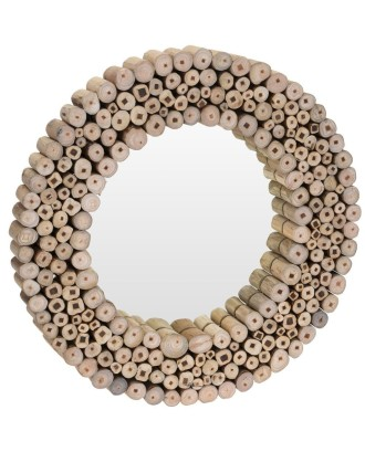 Dekoratyvinis medinis vonios veidrodis 50 cm