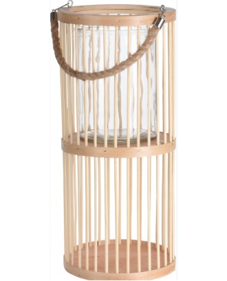 Natūralus bambukinis žibintas su stiklo įdėklu 18x40cm