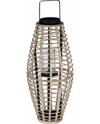 Natūralaus bambuko žibintas su stikliniu įdėklu 30x64cm