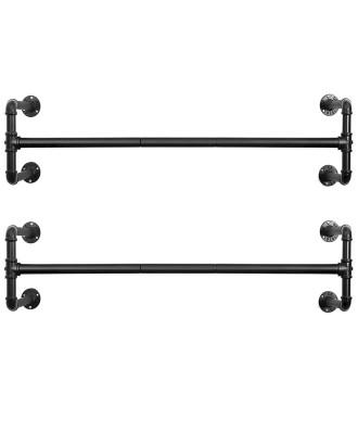 Drabužių turėklai, juodos geležinės pakabos 110x30x29,3 cm