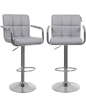 2 baro kėdžių su porankiais rinkinys, pilka dirbtinė oda 55x52.2x49cm