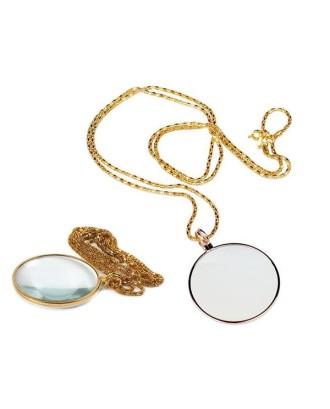 Didinamasis stiklas ant kaklo 5x elegantiškas auksas