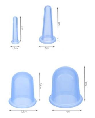 Kiniški silikoniniai puodeliai su masažuokliu - BLUE rinkinys