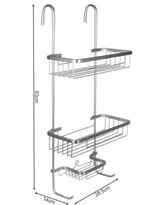 Sieninė dušo lentyna - sidabrinė