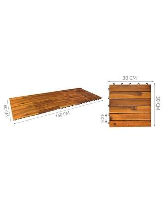 Medinės plytelės - rinkinys 10 vnt. 30x30cm  # 5100