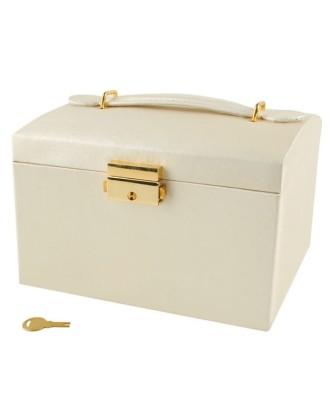 Juvelyrinė dėžė-lagaminas, 3 spalvos,užrakinama,veidrodis,rankena,2 stalčiai