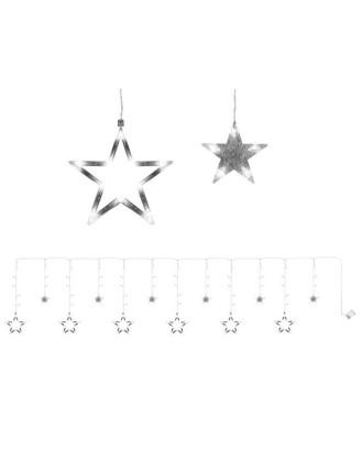 Led kabančios lemputės-žvaigždės, apledėjusios.138 led, 4m balta 7112