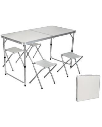 Turistinis sulankstomas stalas + 4 kėdės 7893