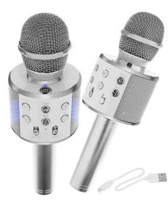 "Belaidis mikrofonas Karaoke, ""Bluetooth"" garsiakalbis Sidabrinis 8997"