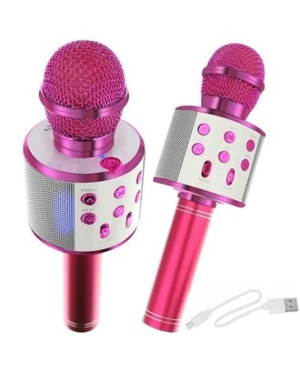 Karaokės mikrofonas su rausvu garsiakalbiu