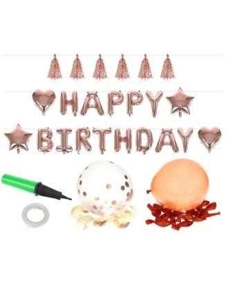 Rožinių auksinių balionų rinkinys, gimtadienio raidės 8866