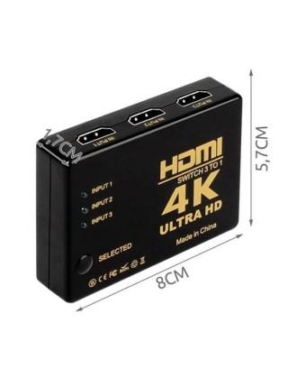 HDMI 4K jungiklis su nuotolinio valdymo pultu 3 įrenginiai 9709