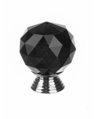 Krištolinė baldų rankenėlė - juoda