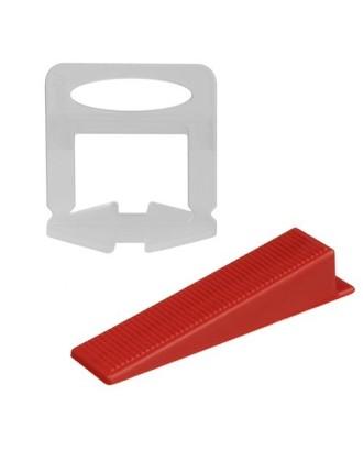 Komplektas plytelėms - 500 spaustukų + 100 pleištų 1,5 mm