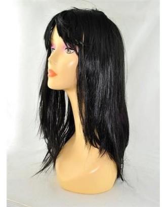 Ilgas tiesus perukas, juodas 65cm 045