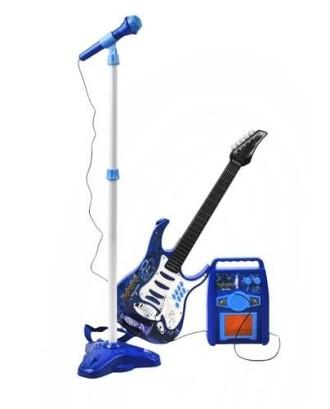 GITARA + STIPRINTUVAS + MIKROFONAS • mėlynas • 6 metalo stygos • MP3 jungtis • amžius: 3+ • # 1554